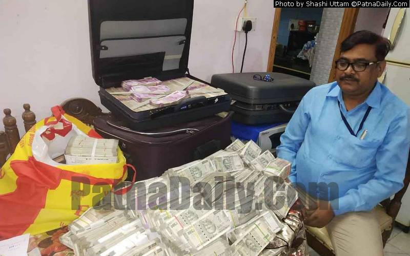 Cash seized from Road Construction Department engineer's home in Patna on Saturday.