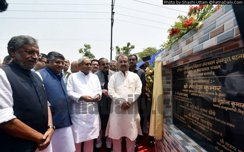Nitish Kumar with other NDA leaders at the laying of the foundation stone of a new hospital in Patna on Tuesday.