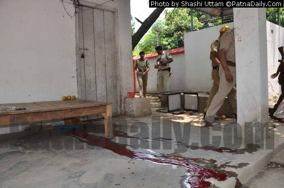 Blood on the ground shows the place where a police jawan committed suicide on Friday.