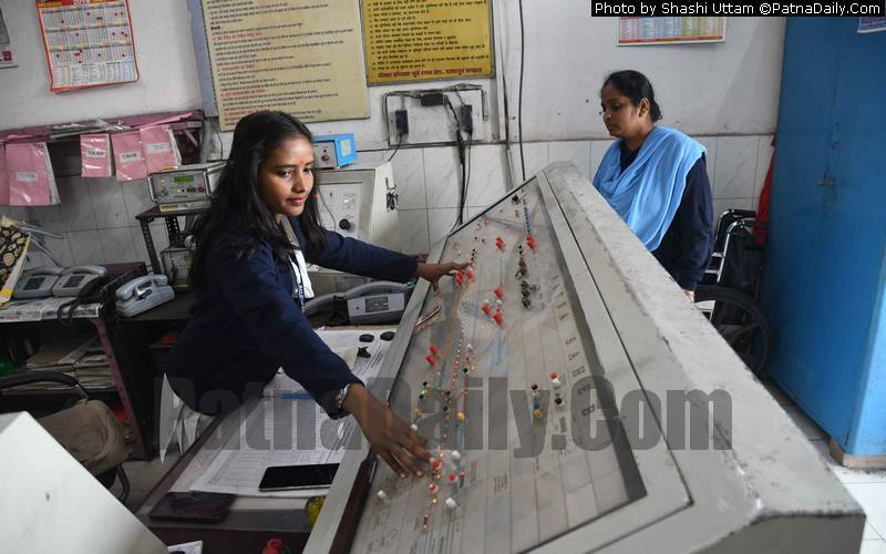 Women at the helm of affairs at Patna Saheb railway control room on Friday.