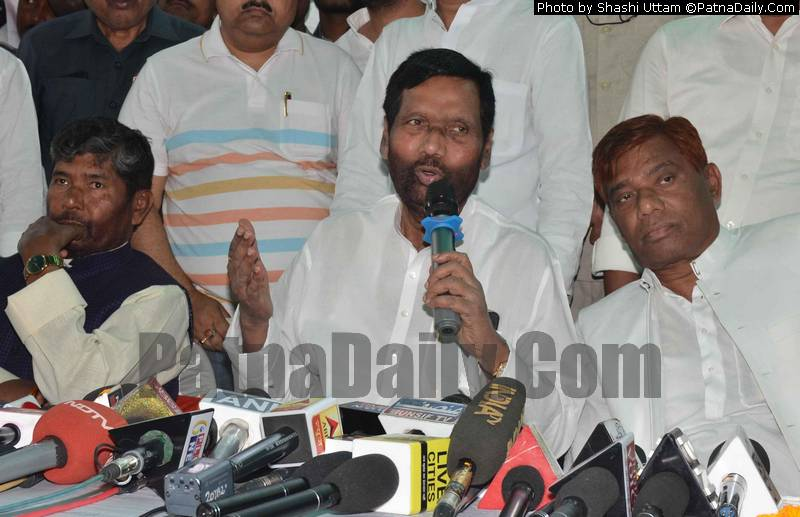 LJP chief Ram Vilas Paswan in Patna on Saturday.