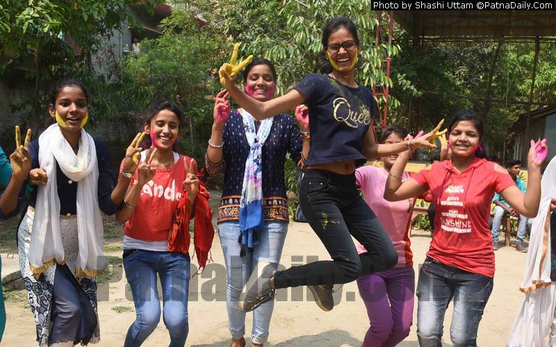 Students in Patna celebrating their success in inter exams.