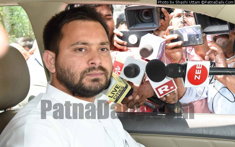 Tejaswi Yadav on campaign trail.