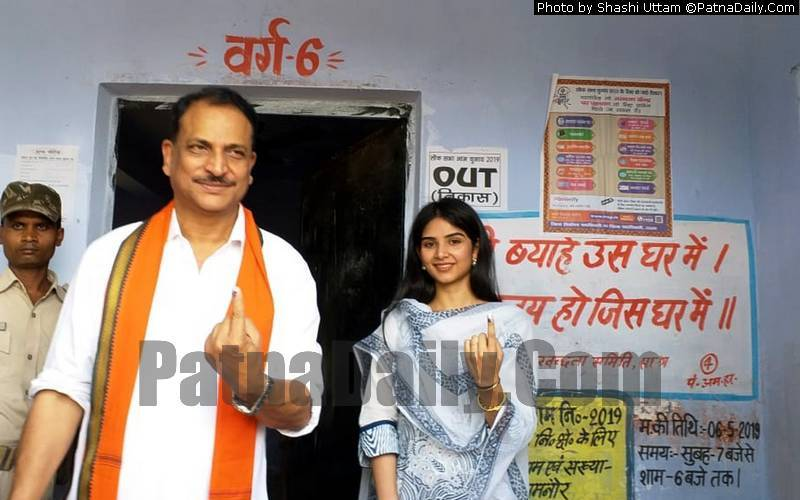 BJP candidate from Saran Rajiv Pratap Rudy coming out of a polling booth after casting his vote on Monday.