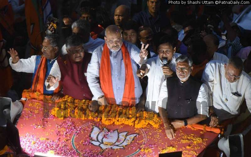 Amit Shah's road-show in Patna on Saturday.