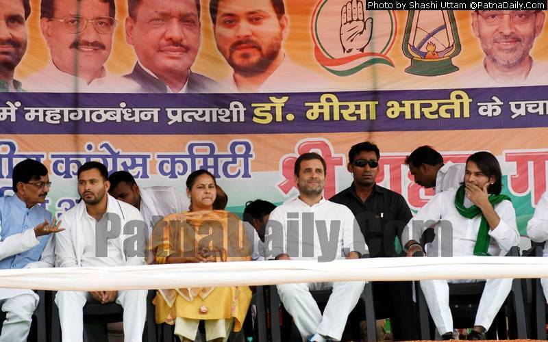 Congress leader Rahul Gandhi at a campaign rally for Misa Bharti in Patna on Thursday.