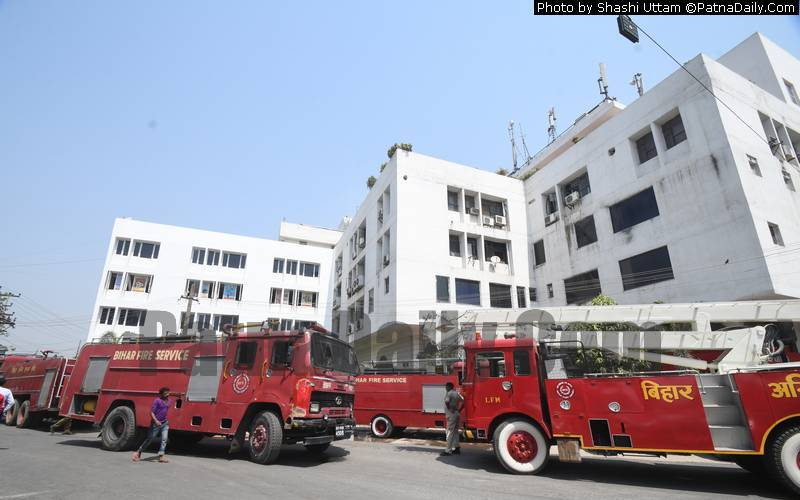 Fire breaks out a Punjab National Bank Zonal office in Patna on Tuesday.