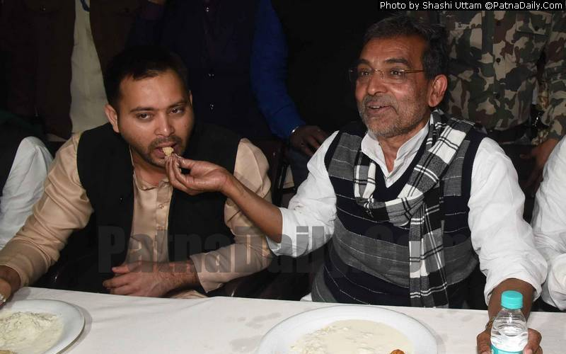 Upendra Kushwaha (right) with Tejaswi Yadav on left. (File photo)