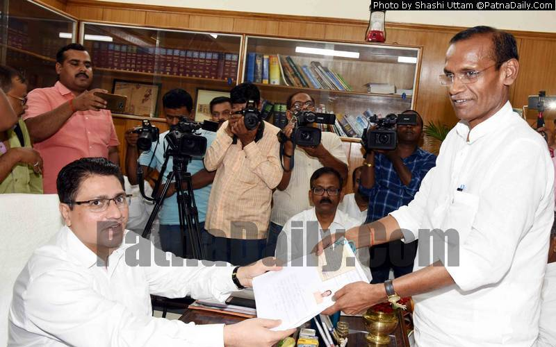 BJP candidate for Bihar Legislative Council Radha Mohan Sharma filing his nomination paper in Patna on Tuesday.