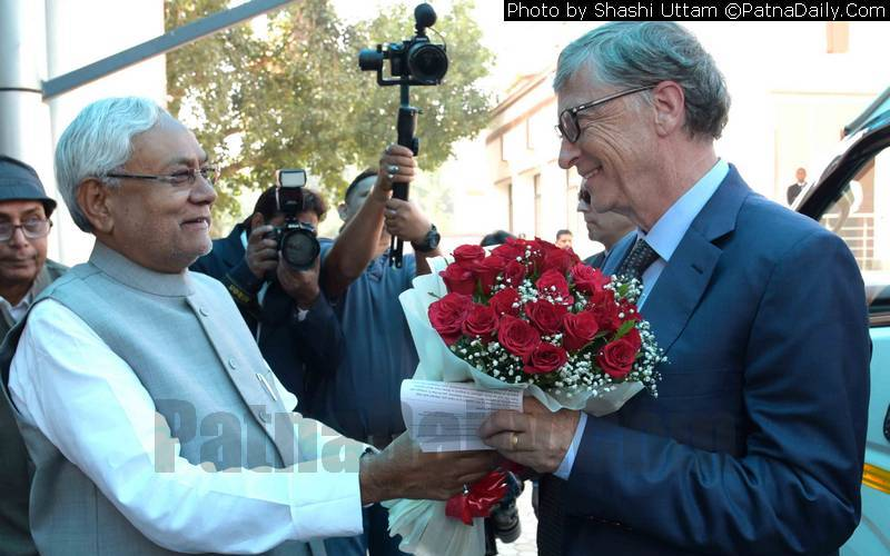 Nitish welcoming Bill Gates at his office in Patna on Sunday.