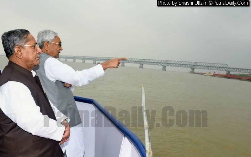 CM Nitish Kumar reviewing Chhath preparation from a boat in Patna on Thursday.