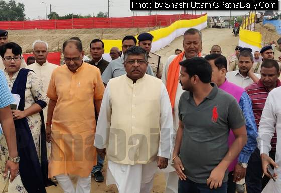 Union Minister and Patna Saheb MP Ravi Shankar Prasad reviewing Chhath preparation in Patna on Friday.