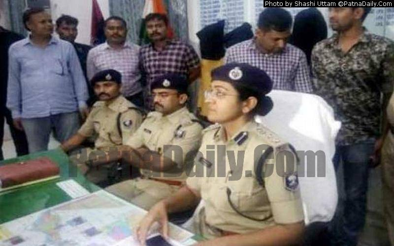Patna SSP Garima Malik holding a press meet in Patna on Saturday.