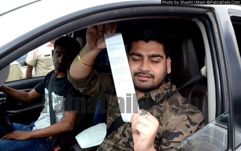 Ram Kripal Yadav's son stopped during a traffic check in Patna on Sunday.