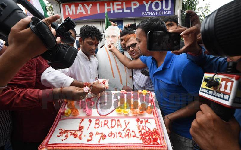 LJP workers observe the birthday of PM Narendra Modi in Patna.