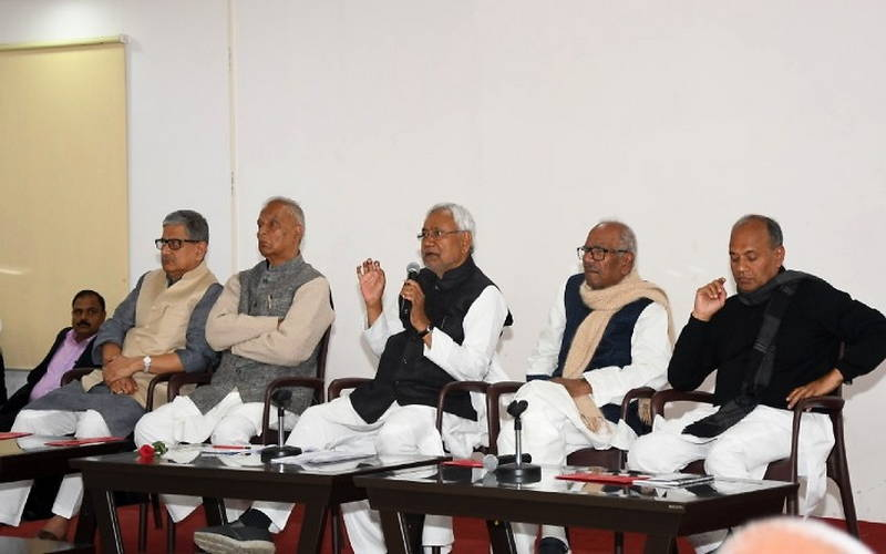 The CM holding meeting of party leaders and workers in Patna on Saturday.