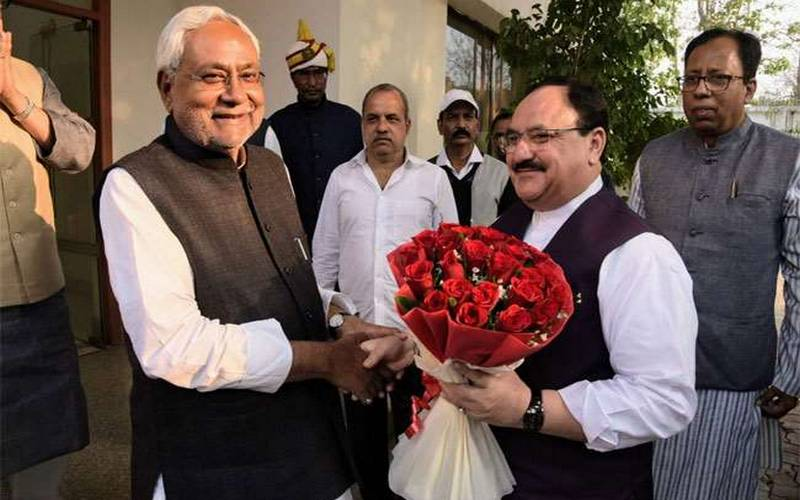 Nitish Kumar welcoming JP Nadda on Saturday.