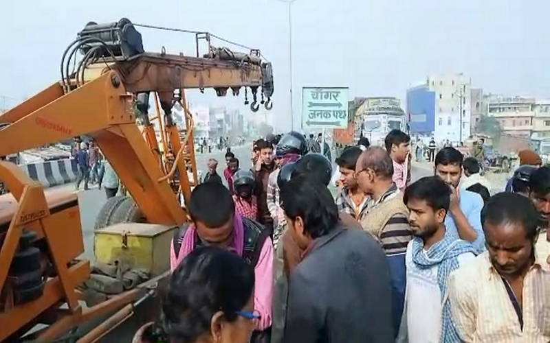 Police investigating the death of a woman in a road accident in Patna on Friday.