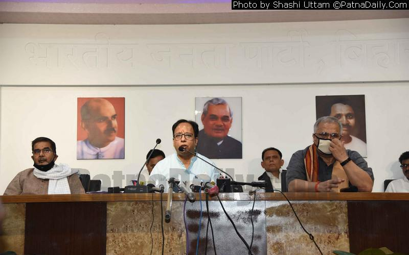 BJP Bihar chief Dr. Sanjay Jaiswal holding a press conference in Patna on Monday.