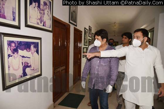 Shekhar Suman with RJD leader Tejaswi Yadav at the latter's residence in Patna.