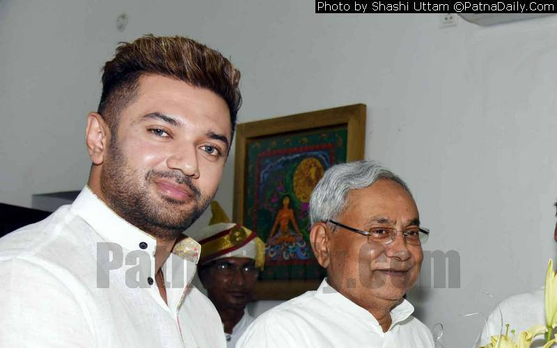LJP leader Chirag Paswan with Chief Minister Nitish Kumar (file photo).