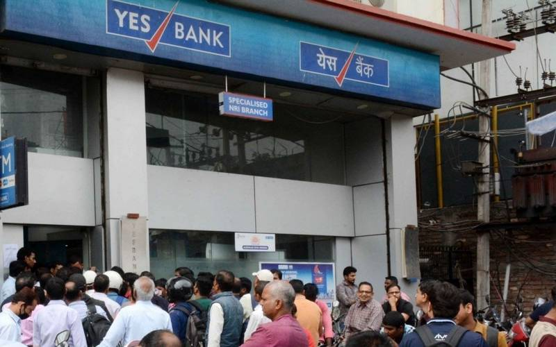 Crowd outside Yes Bank in Patna on Saturday.