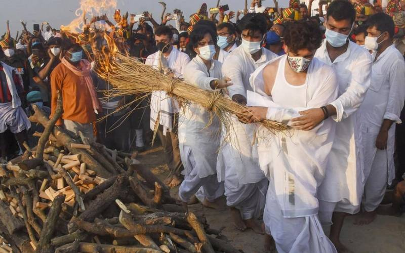 The cremation of Ram Vilas Paswan at Patna's Digha Ghat on Saturday.