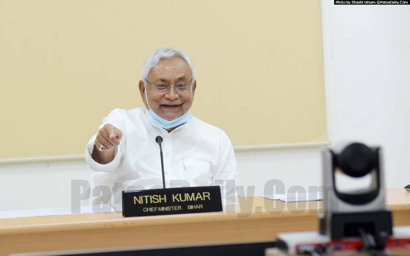 Nitish Kumar holding a press meet in Patna on Wednesday.