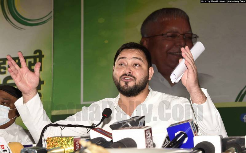 RJD leader Tejaswi Yadav holding a press meet in Patna on Wednesday.