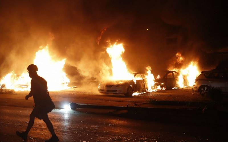 Riot in Kenosha, Wisconsin, USA