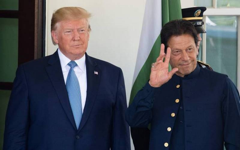 US President Donald Trump and Pakistani PM Imran Khan at White House.