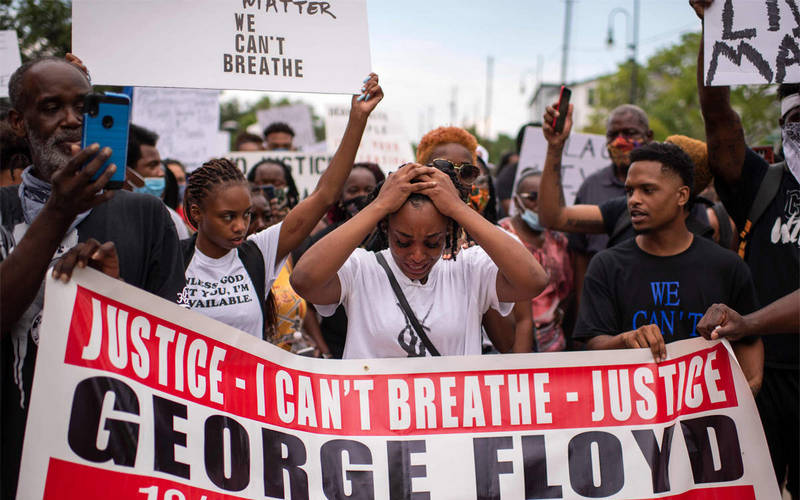 Protest in USA over the death of George Floyd due to police brutality.