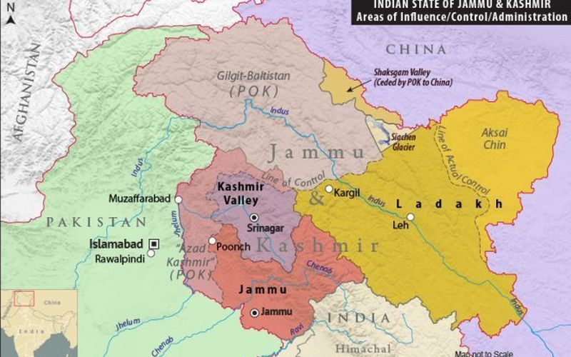 The new map of Jammu & Kashmir and Laddakh.