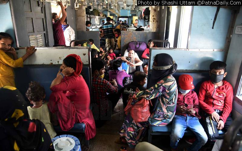 Migrant workers returning to Bihar by a special train.