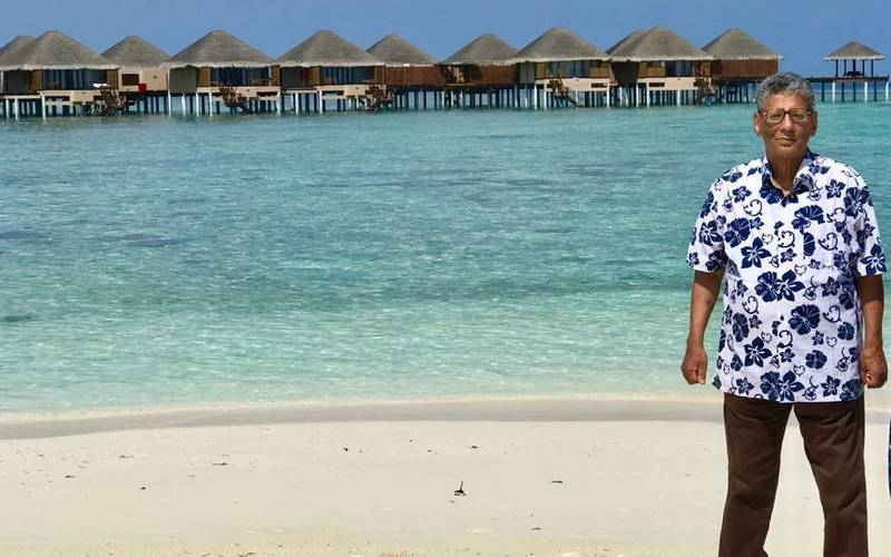 Author Shiben Krishen Raina in Maldives.