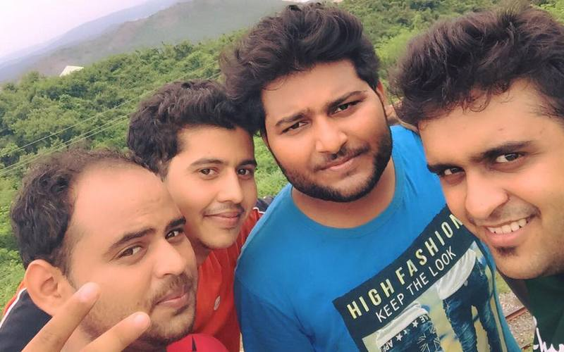 Nitin Upadhyaya (in blue shirt) with his friends.