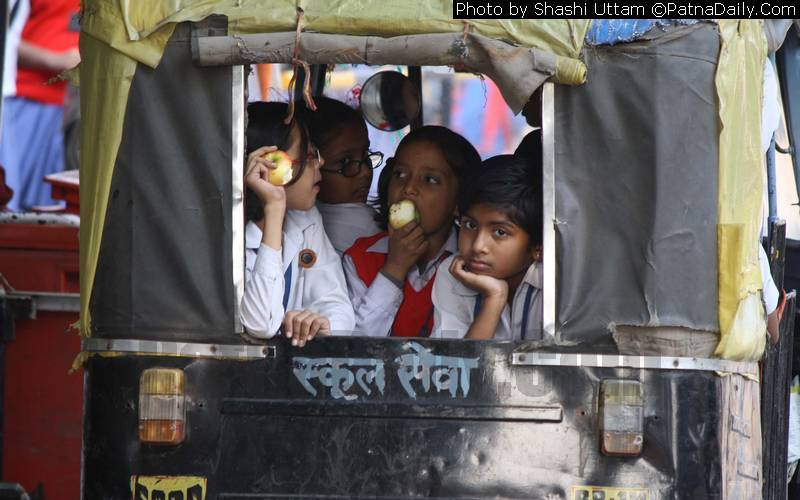 Children in Patna going to school on auto-rickshaw (file photo).