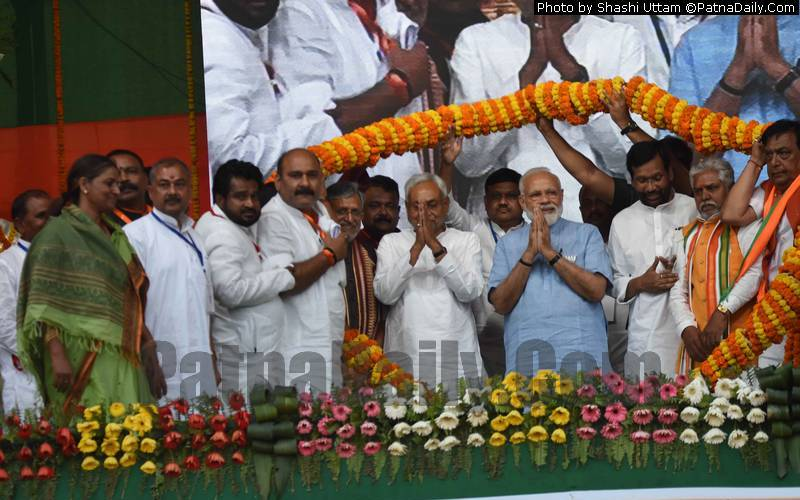 Prime Minister Narendra Modi with Nitish Kumar and other NDA leaders in Gaya on Tuesday.