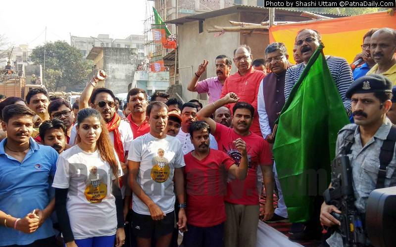 BJP workers and supporters take part in 'Run for NaMo' on Wednesday.