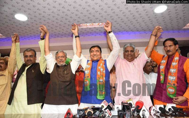 Congress and HAM leaders join BJP in Patna on Saturday.