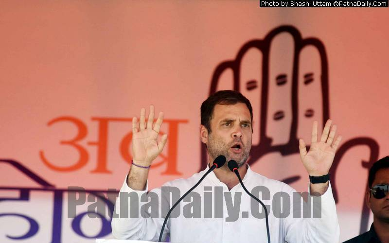 Congress chief Rahul Gandhi in Supaul on Saturday.