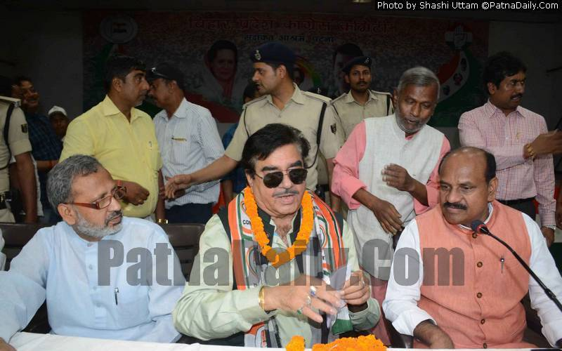 Congress candidate from Patna Saheb Shatrughan Sinha at a party meetin in Patna on Sunday.