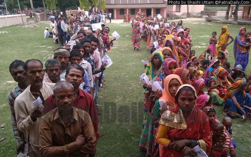 Voters at a polling booth in Araria in the third phase of the Lok Sabha polls on Tuesday.