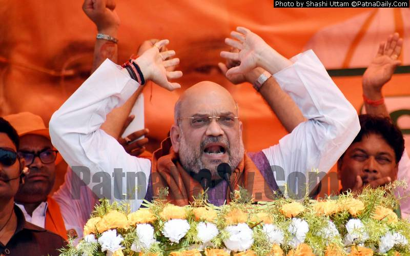 BJP president Amit Shah in Begusarai on Wednesday.