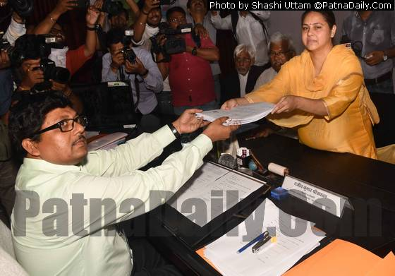 RJD candidate from Pataliputra seat Misa Bharti filing her nomination papers on Thursday.