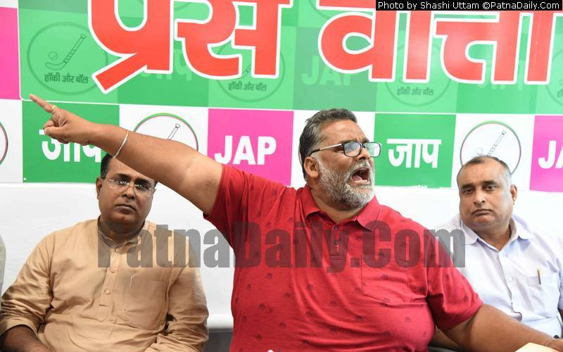 JAP leader Pappu Yadav at a press conference in Patna on Monday.