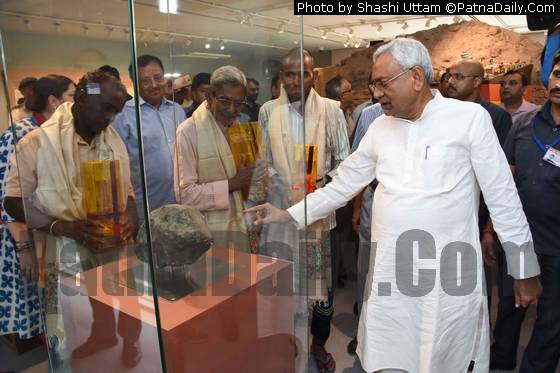 The meteorite found in a paddy field in Madhubani district at display at Bihar Museum in Patna.