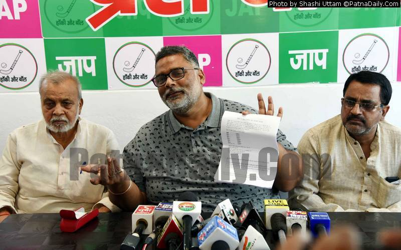 Pappu Yadav holding a press conference in Patna on Thursday.