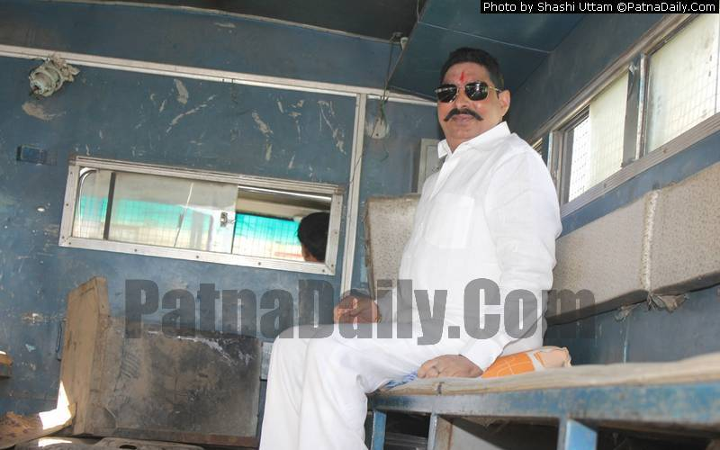 Anant Singh, Independent MLA, sitting in a prison van during a previous arrest (file photo).