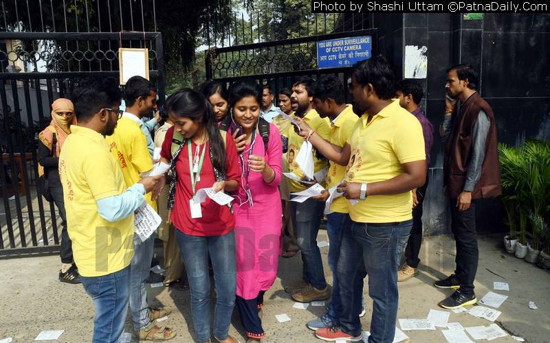 Candidates for PU Students' Union canvassing in Patna on Monday.